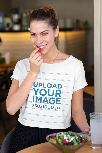 Crop Top Mockup Featuring a Woman Eating a Salad 32767