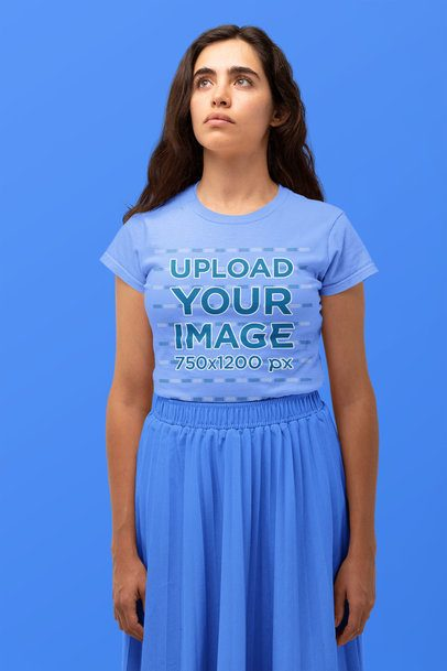 Monochromatic T-Shirt Mockup Featuring a Woman Looking Up 32832