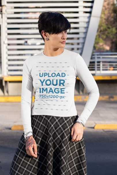 Mockup of an Androgynous Woman Wearing a Long Sleeve Tee 32933