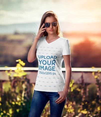 Mockup of a Woman With Sunglasses Wearing a V-Neck T-Shirt 3679-el1