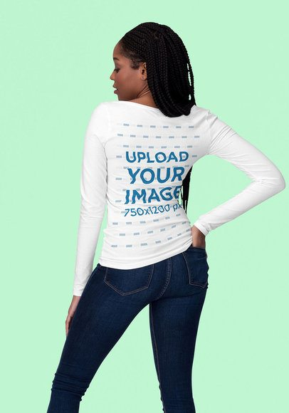 Long Sleeve Tee Mockup of the Back of a Young Woman at a Studio 1820-el1