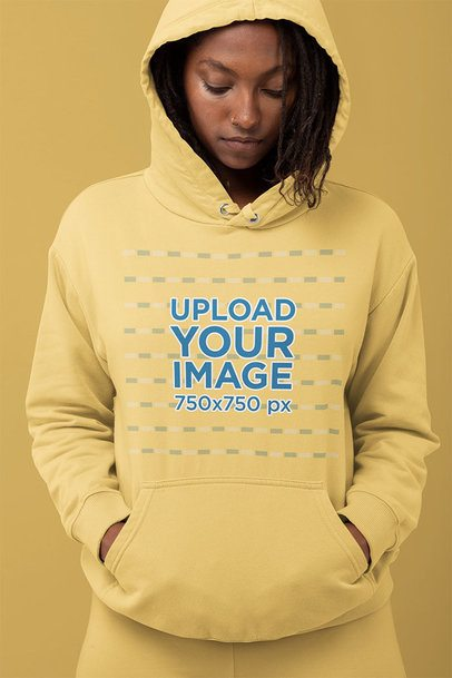 Hoodie Mockup of a Woman Looking Down 32807