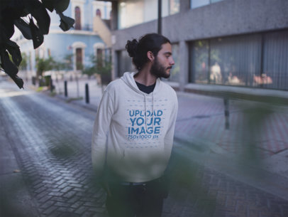 Pullover Hoodie Mockup of a Man with Long Hair in the Street a12592