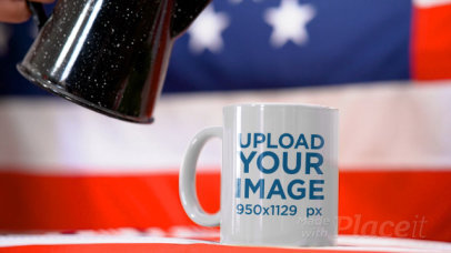 Video of an 11 oz Coffee Mug in Front of an American Flag 33784