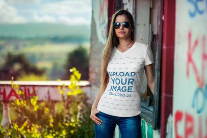 Mockup of a Woman With Sunglasses Wearing a Customizable V-Neck T-Shirt 3683-el1