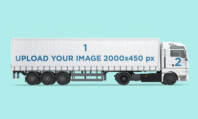 Vehicle Wrap Mockup Featuring a Trailer Truck Against a Customizable Background 3630-el1