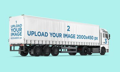 Vehicle Wrap Mockup Featuring a Trailer Truck Against a Customizable Background 3631-el1