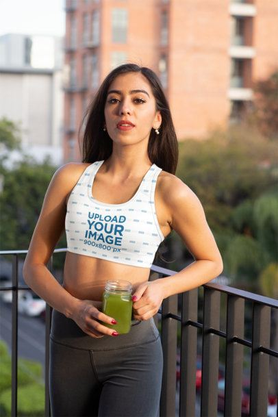 Sports Bra Mockup of a Fit Woman at a Balcony 32758