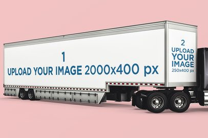 Vehicle Wrap Mockup Featuring a Container Trailer Against a Plain Color Backdrop 3609-el1