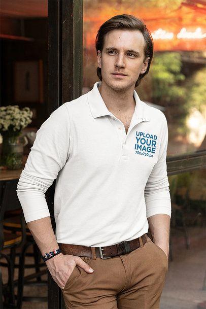 Mockup of an Elegant Man Wearing a Long-Sleeve Polo Shirt 33477
