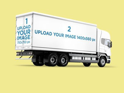 Vehicle Wrap Mockup Featuring a Cargo Truck Against a Plain Color Background 3613-el1
