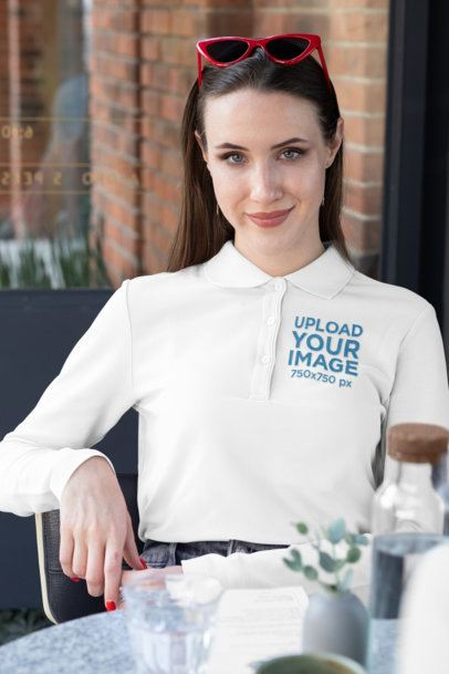 Long Sleeve Polo Shirt Mockup of a Woman at a Table 33463