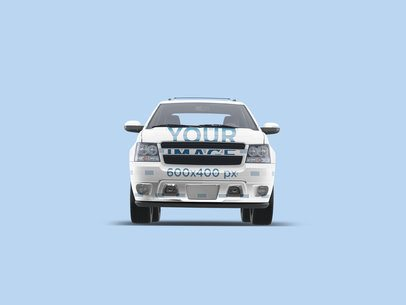 Car Decal Mockup Featuring a Pickup Truck and a Colored Backdrop 3599-el1