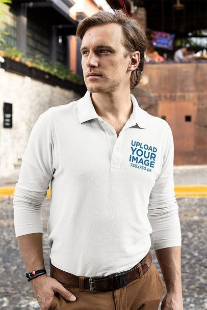 Mockup of a Serious-Looking Man Wearing a Long Sleeve Polo Shirt 33478