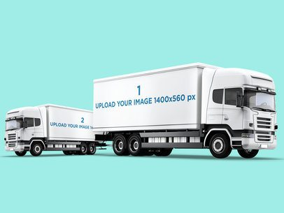 Car Decal Mockup Featuring Two Cargo Trucks 3616-el1
