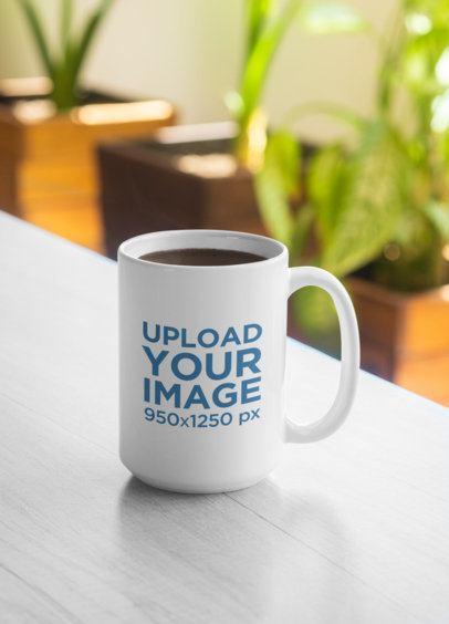 Sticker Mockup Featuring a 15 oz Coffee Mug 33596