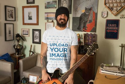 T-Shirt Mockup of a Man with His Electric Guitar at Home 32836