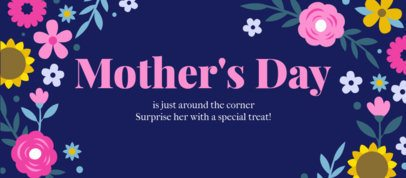 Facebook Cover Template for Mother's Day with Flowers Graphics 2453d