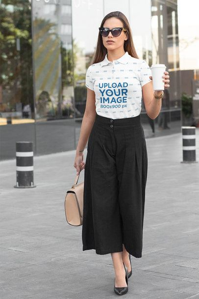 Polo Shirt Mockup of an Elegant Woman Walking Down the Street 33538