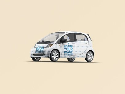Car Wrap Mockup Featuring a Compact Vehicle Against a Solid Color Background 3623-el1