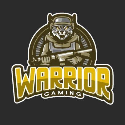 Gaming Logo Template with a Warrior Tiger Cartoon 889e-el1