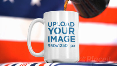 4th of July-Themed Video of Someone Pouring Coffee Into a Mug 33786
