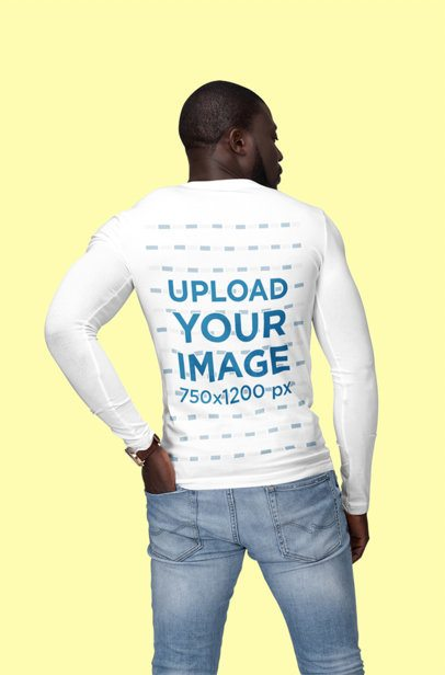 Back View Mockup of a Man Wearing a Customizable Long Sleeve Tee at a Studio 1808-el1