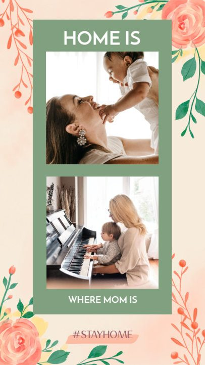 Instagram Story Maker Featuring a Two Picture Layout for Mother's Day 2451e