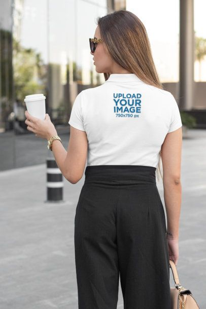 Back-View Mockup of a Woman Wearing a Polo Shirt 33540