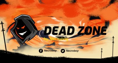Gaming Twitch Banner Template Featuring a Flaming Background 2446e