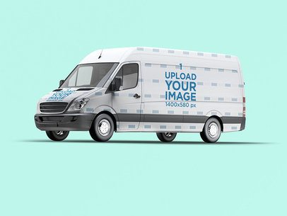 Vehicle Wrap Mockup Featuring a Van 3627-el1