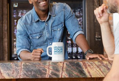 20 oz Beer Mug Mockup of a Man Laughing at a Bar with a Friend 33423