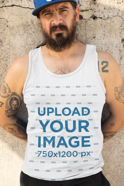 Tank Top Mockup of a Man Leaning on a Cement Wall 32845