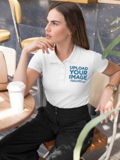 Polo Shirt Mockup of a Woman at a Cafe 33545
