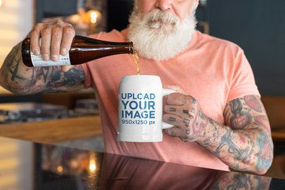 Mockup of a Man Pouring Beer into a Beer Mug 33439