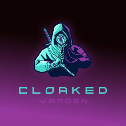 Gaming Logo Template Featuring a Hooded Ninja Warrior 3165n