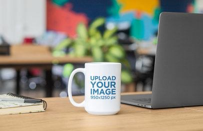 Sticker Mockup Featuring a Coffee Mug on a Desk 33598