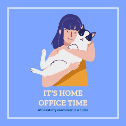 Facebook Post Maker for Home Office Featuring a Woman and Her Pet 2026r 2479