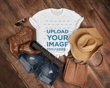 T-Shirt Mockup Featuring a Country Outfit 3748-el1