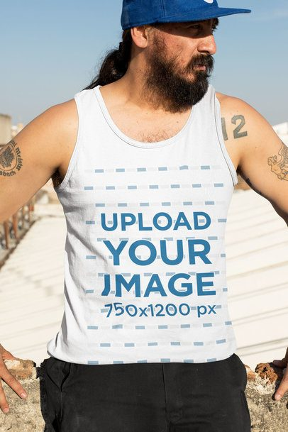 Mockup of a Man Wearing a Tank Top on a Sunny Day 32847