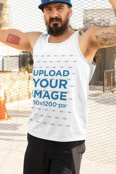 Mockup of a Bearded Tough Man Wearing a Tank Top 33849