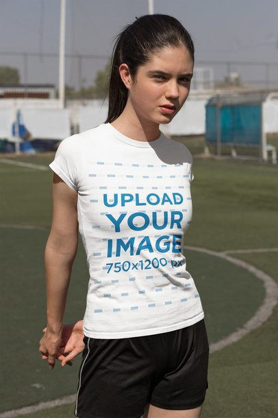 T-Shirt Mockup of a Teen Girl in a Soccer Field 33560