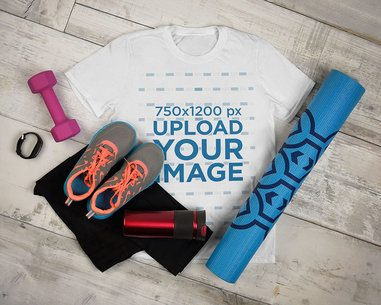 T-Shirt Mockup of a Fitness Outfit Featuring Exercising Equipment 3750-el1