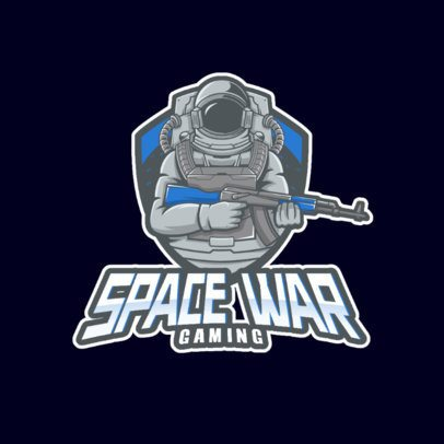 Gaming Logo Template with an Astronaut Holding an Assault Rifle 981b-el1