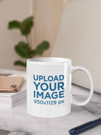 Sticker Mockup Placed on an 11 oz Coffee Mug 33621
