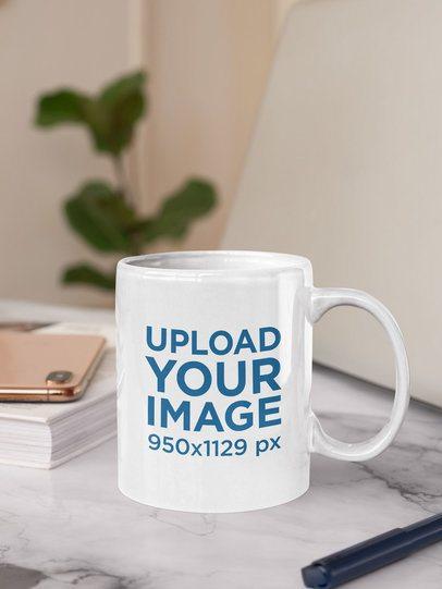 Sticker Mockup Placed on an 11 oz Coffee Mug 33621