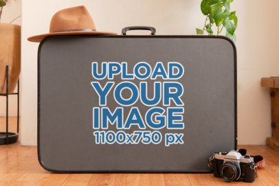 Sticker Mockup Featuring a Suitcase and Other Items 33627