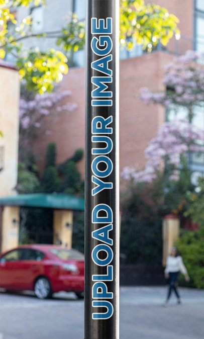 Mockup of a Sticker Placed on a Lamp Post 33610