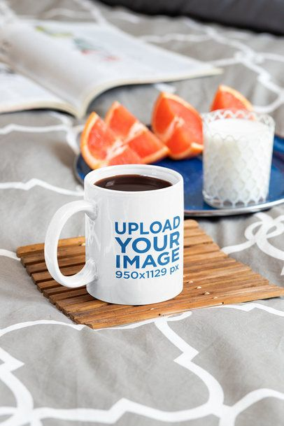 Mockup of a Coffee Mug Featuring a Healthy Breakfast in Bed 33669