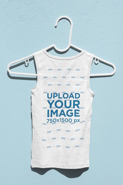 Back View Mockup of a Children's Tank Top on a Hanger 33693